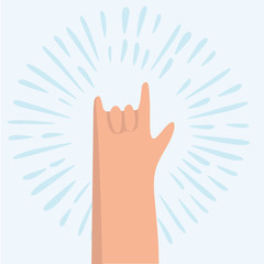 Rock hand gesture on a gray background
