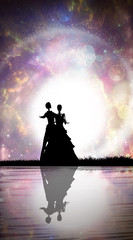 Skeleton wedding first dance silhouette art photo manipulation