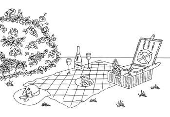 Picnic graphic black white sketch illustration vector