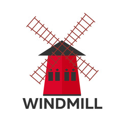 Mill flat design. Bakery. Vector illustration icon.
