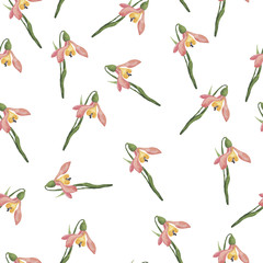 Seamless pattern with tender pink flowers and green leaves on white background. Hand drawn watercolor illustration.