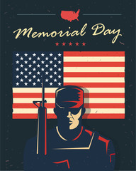 Memorial day card. Soldier against american flag. Vector illustration. Patriotic poster.