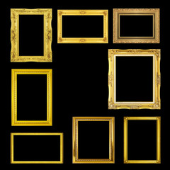 Golden frame isolated on the black background