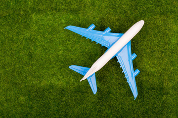 Toy plane on the grass meadow. Top view