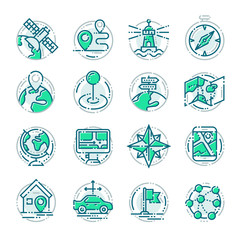 Navigation outline location pin pictogram icons thin sign vector illustration.