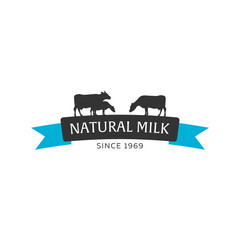 Milk emblem, labels, logo and design elements. Fresh and natural milk. Milk farm. Cow milk. Vector logotype design.