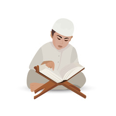 Illustration - Illustration of a Little Muslim Boy Reading the Quran