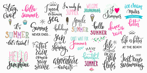 Poster Positive Typography Hello summer lettering typography big set