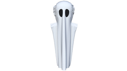 Good costume imitating a ghost for a small child on Halloween. With large eye reliefs