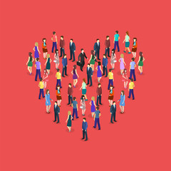 large crowd of people standing in the shape of heart