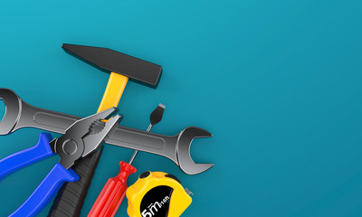 Work tools on blue background