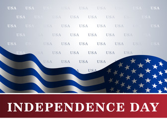 Independence day USA background with flag. Symbol of 4th july celebration the United State of America. Happy fourth july holiday, patriotic flag banner template. Vector illustration