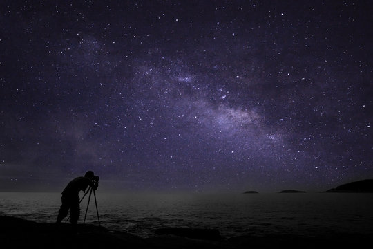 Photographer doing photography nightscape with milky way galaxy.