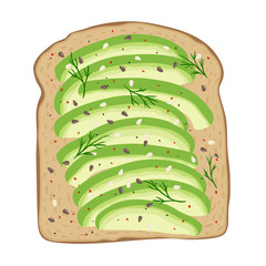 Avocado toast. Fresh toasted bread with slices of ripe avocado. Delicious avocado sandwich with sesame seeds, seasoning and dill. Vector illustration for your designs. Eps10.