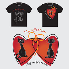 Black cat and cat. The logo on the shirts. Outline drawing. The cartoon characters. Design for textiles, printing on fabric or paper. Vector