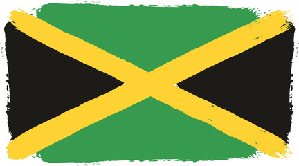 Jamaica Flag Vector Hand Painted with Rounded Brush