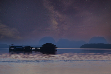 Long exposure Night Photography with Milky way with seascape in phang-nga thailand.