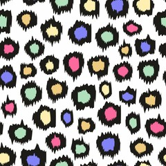 Colorful leopard pattern. Vector seamless background for design