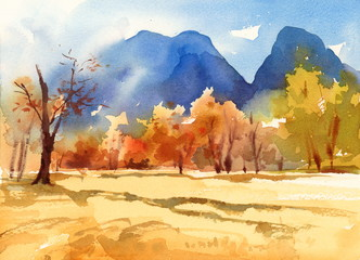 Watercolor Fall Landscape with Autumn Trees and Blue Mountains on the Background Hand Painted Illustration