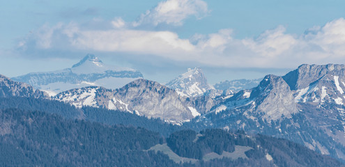 Snowy mountains peaks in Switzerland