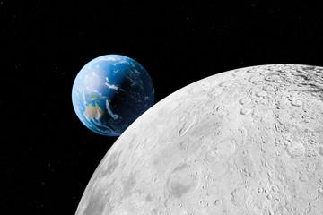 Mond und Erde - Illustration