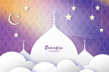 Purple Ramadan Kareem Greeting card.. Arabic window Mosque, clouds, white stars. Paper cut style. Arabesque pattern. Origami Crescent Moon. Vector