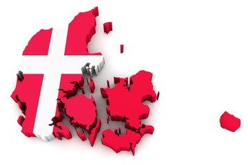 Country shape of Denmark - 3D render of country borders filled with colors of Denmark flag isolated on white background
