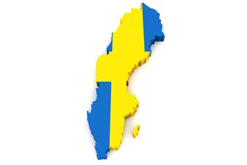 Country shape of Sweden - 3D render of country borders filled with colors of Sweden flag isolated on white background