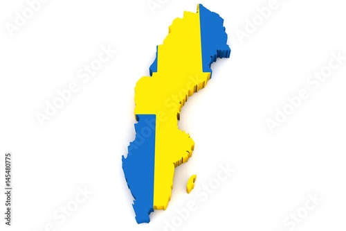 Country Shape Of Sweden D Render Of Country Borders Filled With - Sweden map 3d