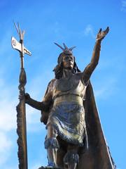 Statue of the Inca Pachacutec over the fountain at the Plaza de Armas in Cuzco