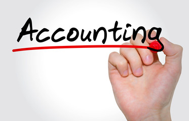 Hand writing inscription Accounting with marker, concept