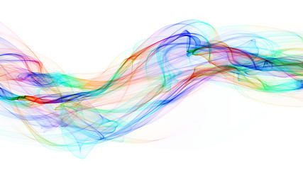 3d illustration of colored waves look like smoke