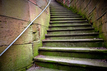alte verwitterte Steintreppe Stufen