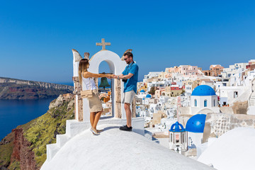Couple in love on Santorini