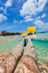 Fototapete - Split photo of  woman legs with fins
