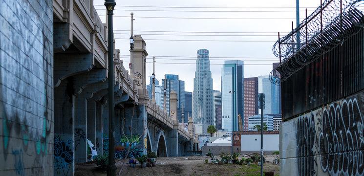 Downtown Los Angeles Bridge, Street lamps, California, USA