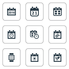 Vector Illustration Set Of Simple Time Icons. Elements Summer Calendar, 2016 Calendar, Planner And Other Synonyms Agenda, Gear And Summer.