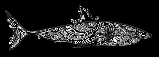 Vector silhouette of a white shark from patterns on a black background