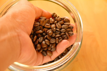 Coffee beans in the hands and drop into the jar on wooden table.