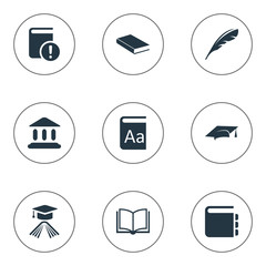 Vector Illustration Set Of Simple Knowledge Icons. Elements Journal, Library, Blank Notebook And Other Synonyms Alphabet, Book And Important.
