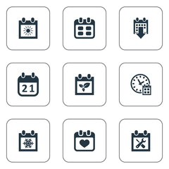 Vector Illustration Set Of Simple Plan Icons. Elements History, Deadline, Heart And Other Synonyms Reminder, Winter And Clock.