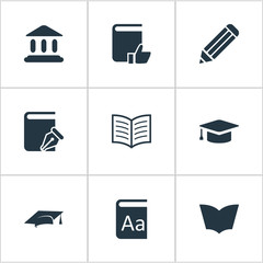 Vector Illustration Set Of Simple Books Icons. Elements Book Page, Recommended Reading, Alphabet And Other Synonyms Dictionary, Sketchbook And Building.