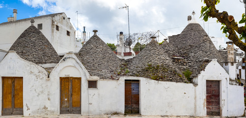 Typical cone-shaped houses called Trulli in Alberobello, Italy