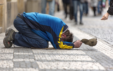 Homeless man in a street