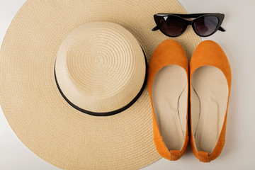Women's summer accessories - hat, sunglasses and shoes (ballet flats).