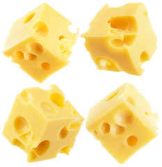collection of cheese cube slices isolated on a white background