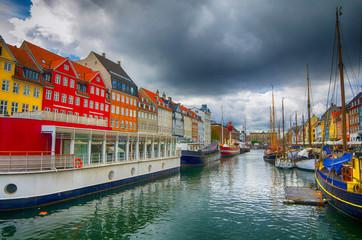 Nyhavn pier is a 17th century harbour in Copenhagen, Denmark