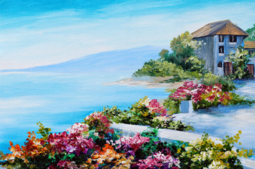 oil painting, house near the sea, sea coast, colorful flowers, summer seascape