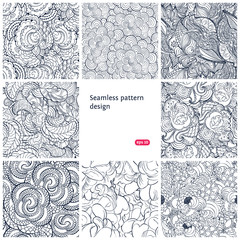 Floral seamless vintage pattern set.