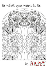 Vector gift card. Hand drawn elements for adult coloring book. Good for art therapy and zentangle-style meditation.